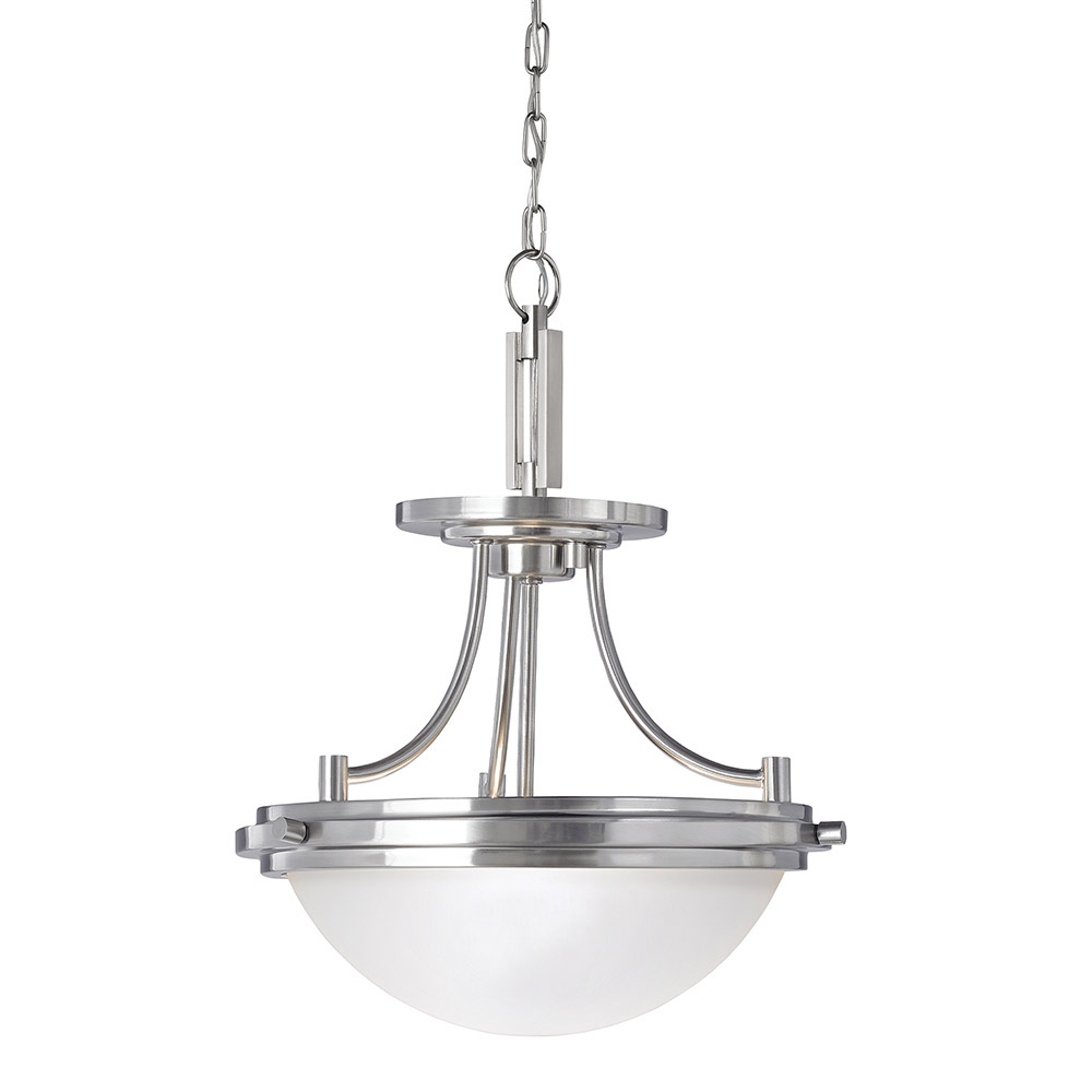 Sea Gull Winnetka 2 Light Semi-Flush Convertible Pendant in Brushed Nickel 77660BLE-962