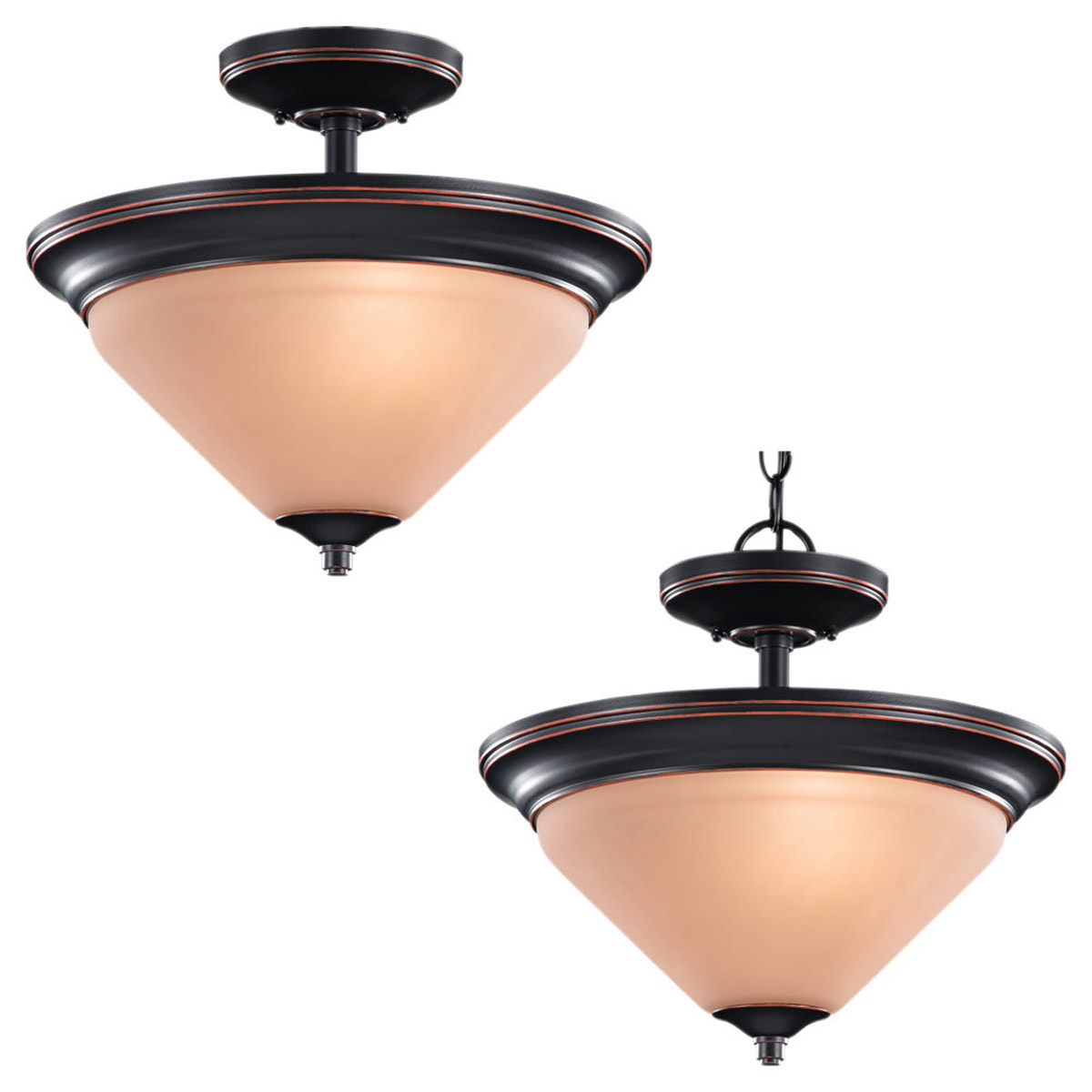 Sea Gull Lighting Belair 2 Light Semi-Flush / Pendant in Vintage Brown 77790-862