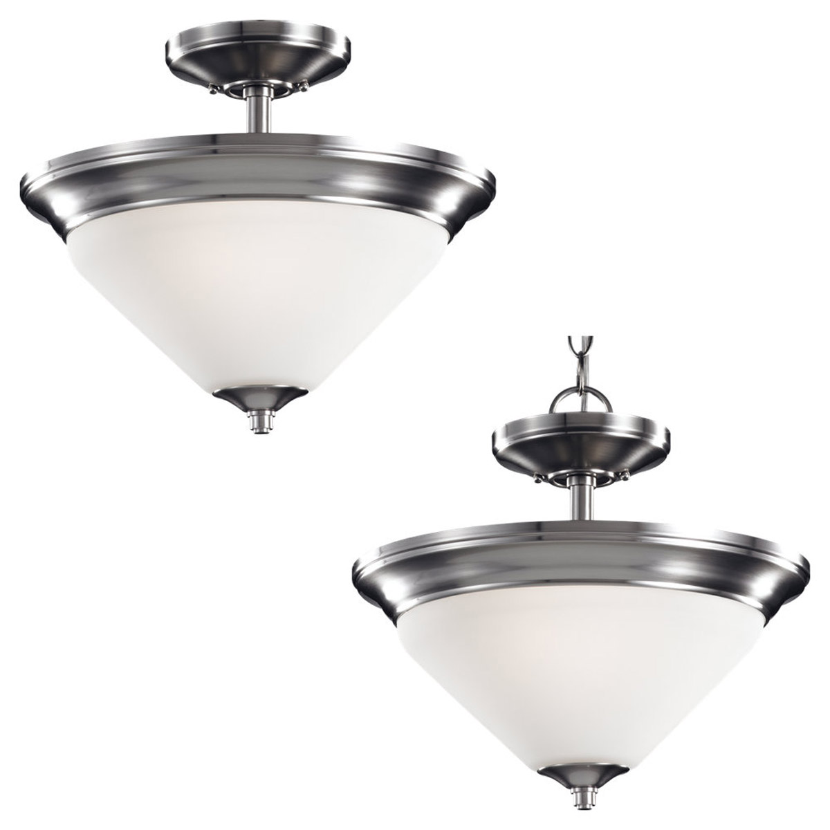 Sea Gull Lighting Belair 2 Light Semi-Flush / Pendant in Brushed Nickel 77790-962
