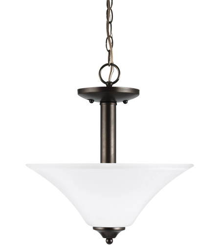 Sea Gull 77806-782 Holman 2 Light 13 inch Heirloom Bronze Semi-Flush Convertible Pendant Ceiling Light photo thumbnail