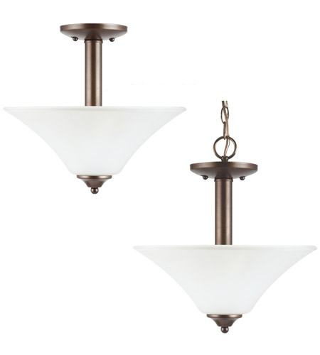 Sea Gull Lighting Holman 2 Light Semi-Flush Mount in Bell Metal Bronze 77806-827