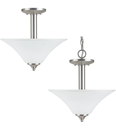 Sea Gull Lighting Holman 2 Light Semi-Flush Mount in Brushed Nickel 77806-962