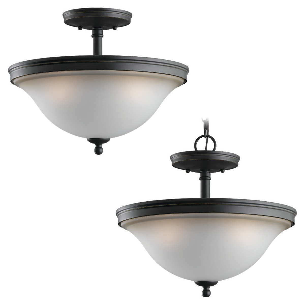 Sea Gull 77850-782 Gladstone 3 Light 14 inch Heirloom Bronze Semi-Flush Mount Ceiling Light in Smokey Amber Glass photo