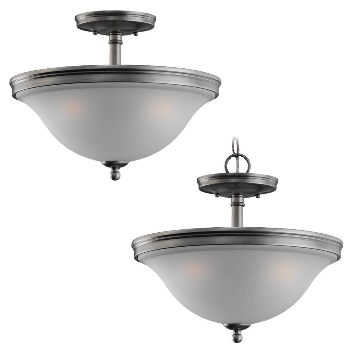 Sea Gull 77850-965 Gladstone 3 Light 14 inch Antique Brushed Nickel Flush Mount Ceiling Light in Satin Etched Glass photo