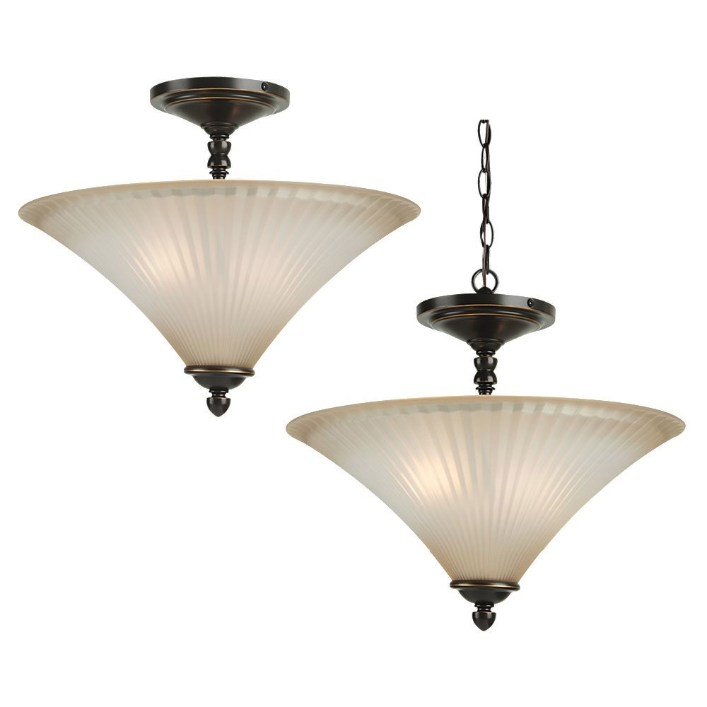 Sea Gull Lighting Joliet 2 Light Semi-Flush Mount in Heirloom Bronze 77935-782 photo