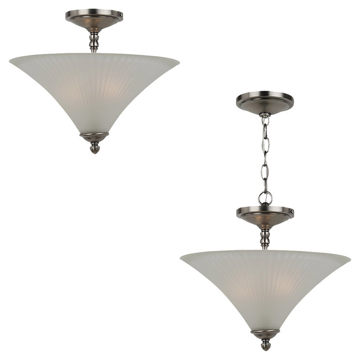 Sea Gull Lighting Joliet 2 Light Semi-Flush Mount in Antique Brushed Nickel 77935-965