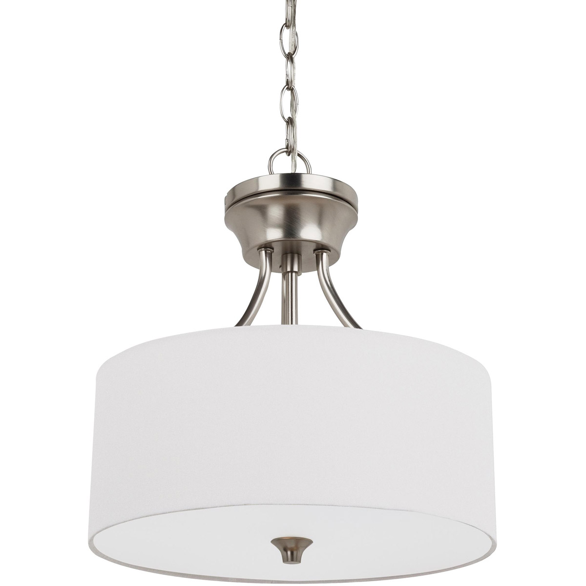 Sea Gull 77952-962 Stirling 2 Light 14 inch Brushed Nickel Semi-Flush Mount Ceiling Light in White Linen Fabric, Standard photo