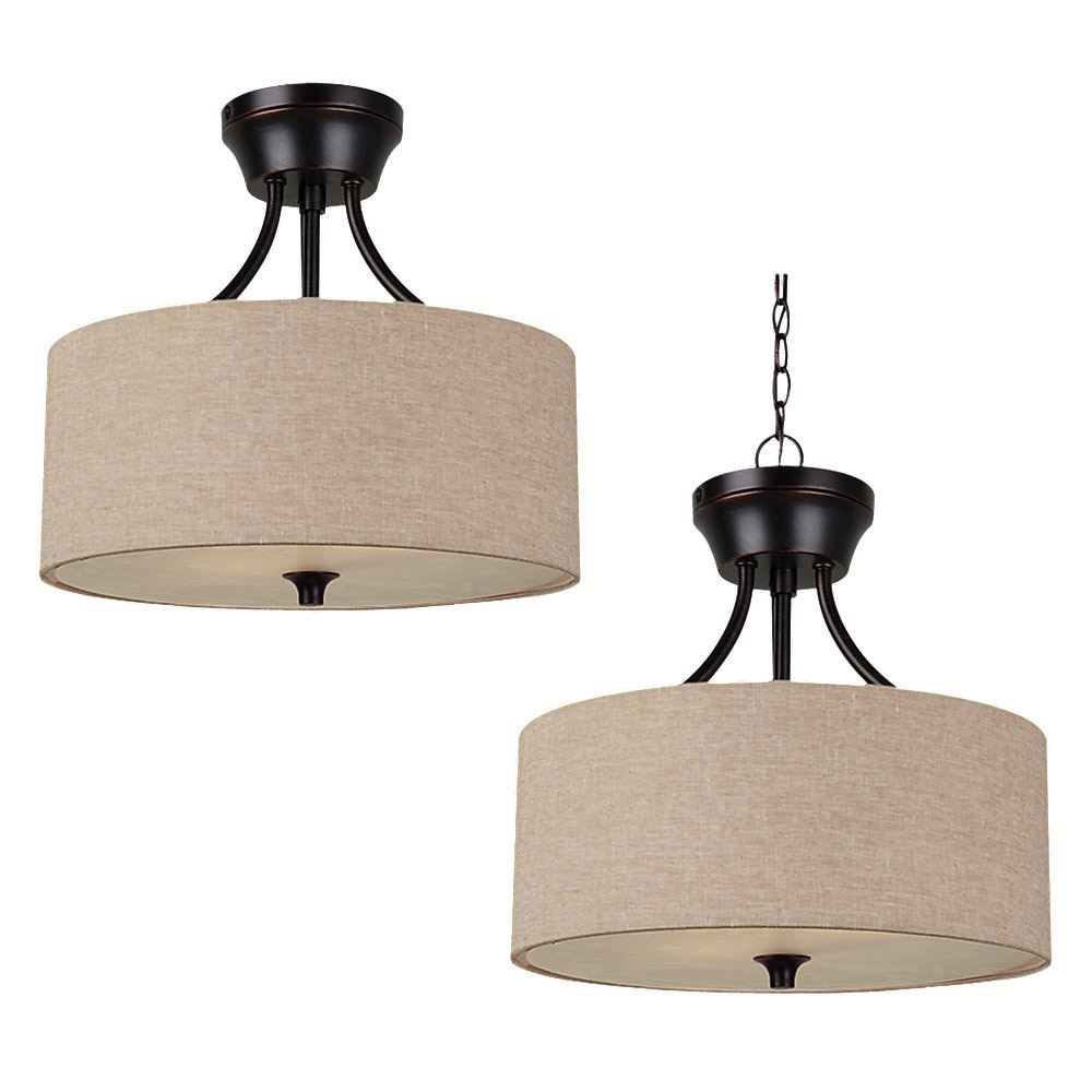 Sea Gull 77952BLE-710 Stirling 2 Light 14 inch Burnt Sienna Semi-Flush Convertible Pendant Ceiling Light in Beige Linen Fabric, Fluorescent photo