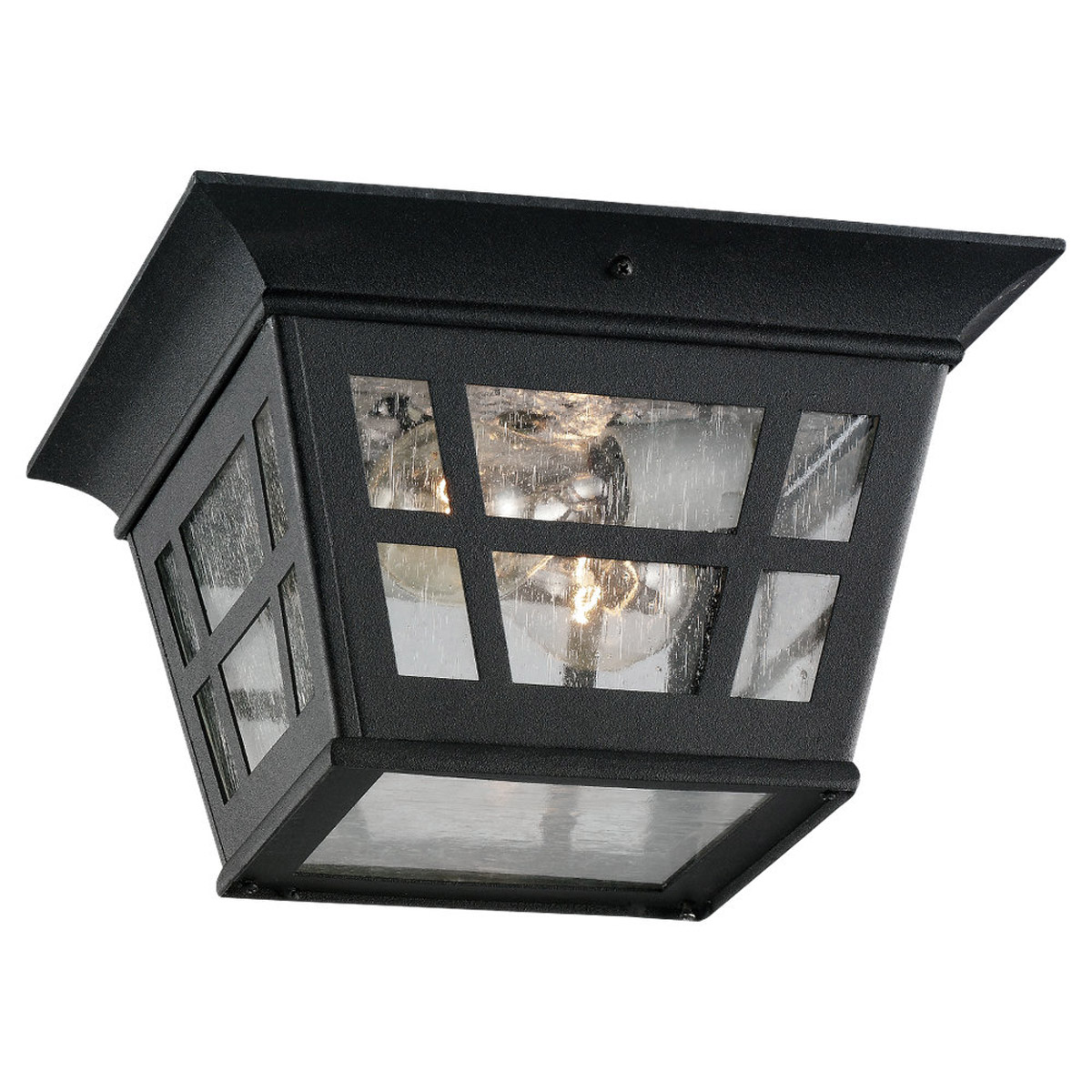 Sea Gull Lighting Herrington 2 Light Outdoor Ceiling Fixture in Black 78131-12