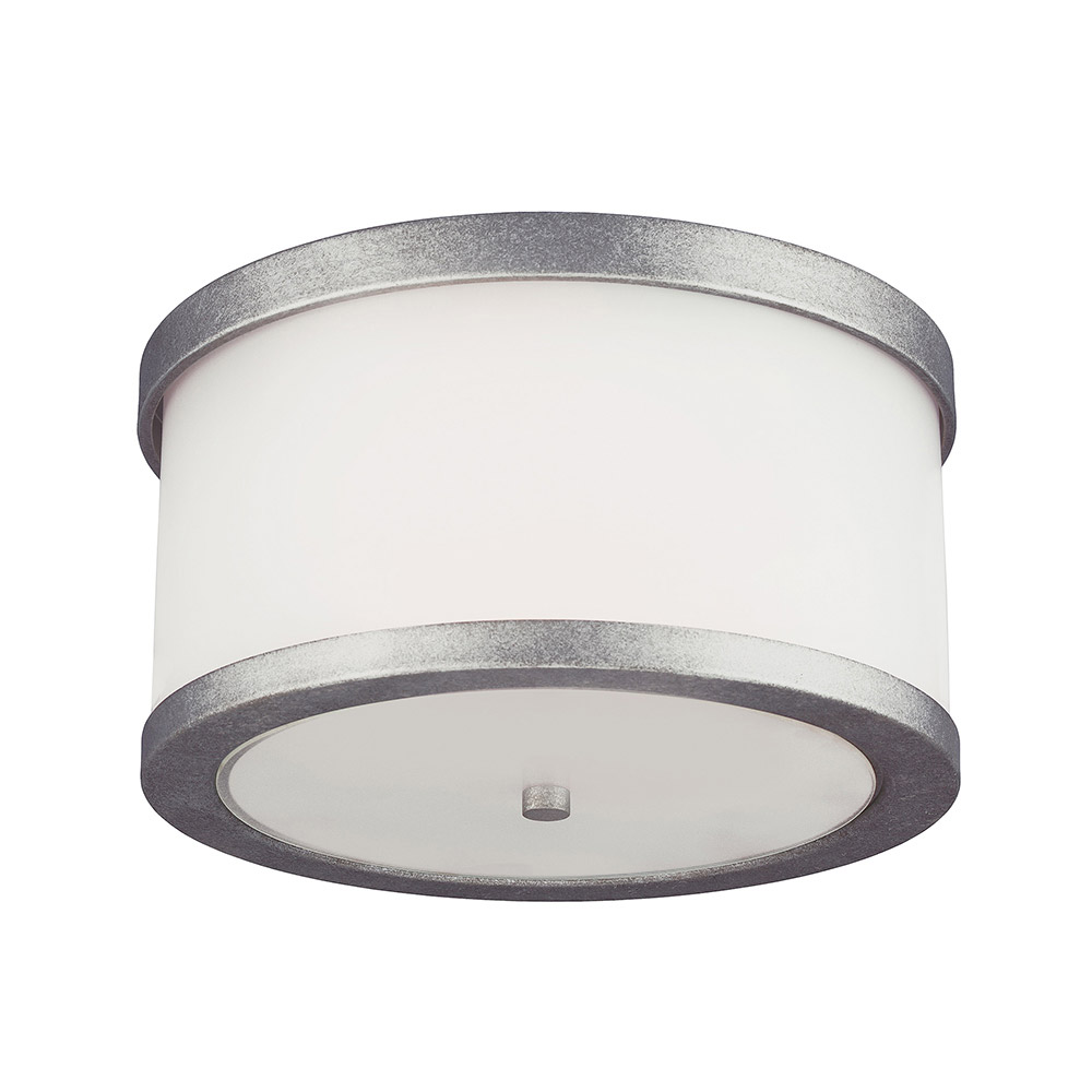 Sea Gull Bucktown 2 Light Outdoor Flush Mount in Weathered Pewter 7822402BLE-57