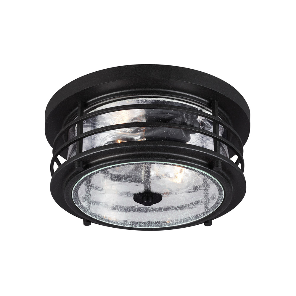 Sea Gull 7824402-12 Sauganash 2 Light 12 inch Black Outdoor Flush Mount in Standard photo