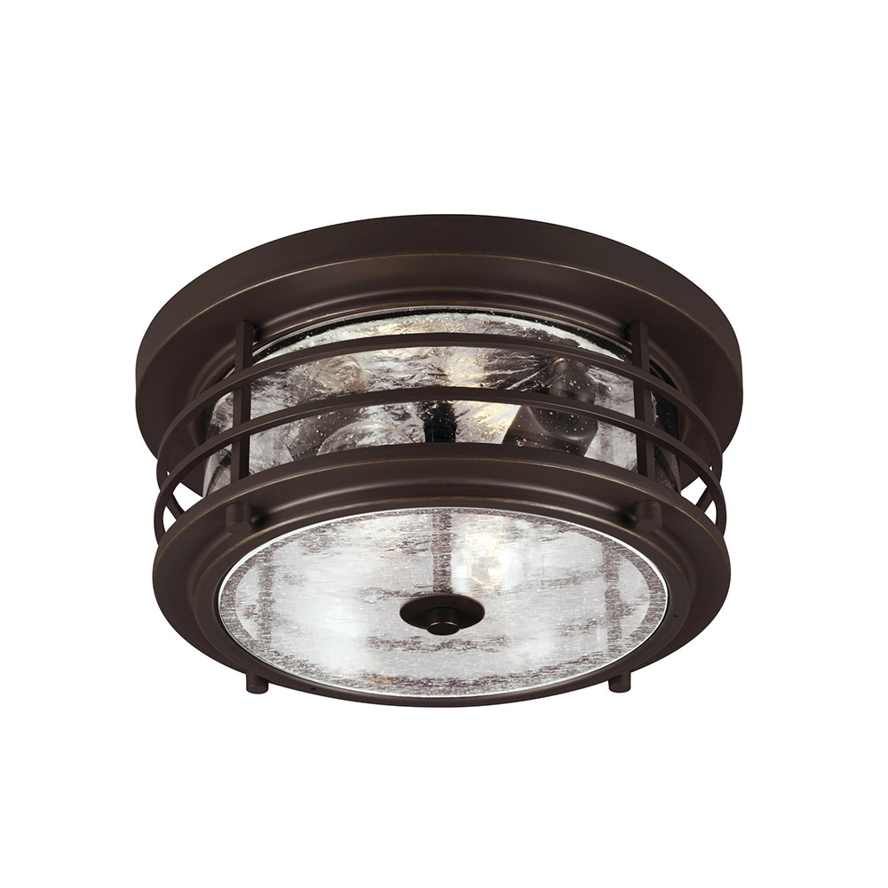 Sea Gull Sauganash 2 Light Outdoor Flush Mount in Antique Bronze 7824402-71