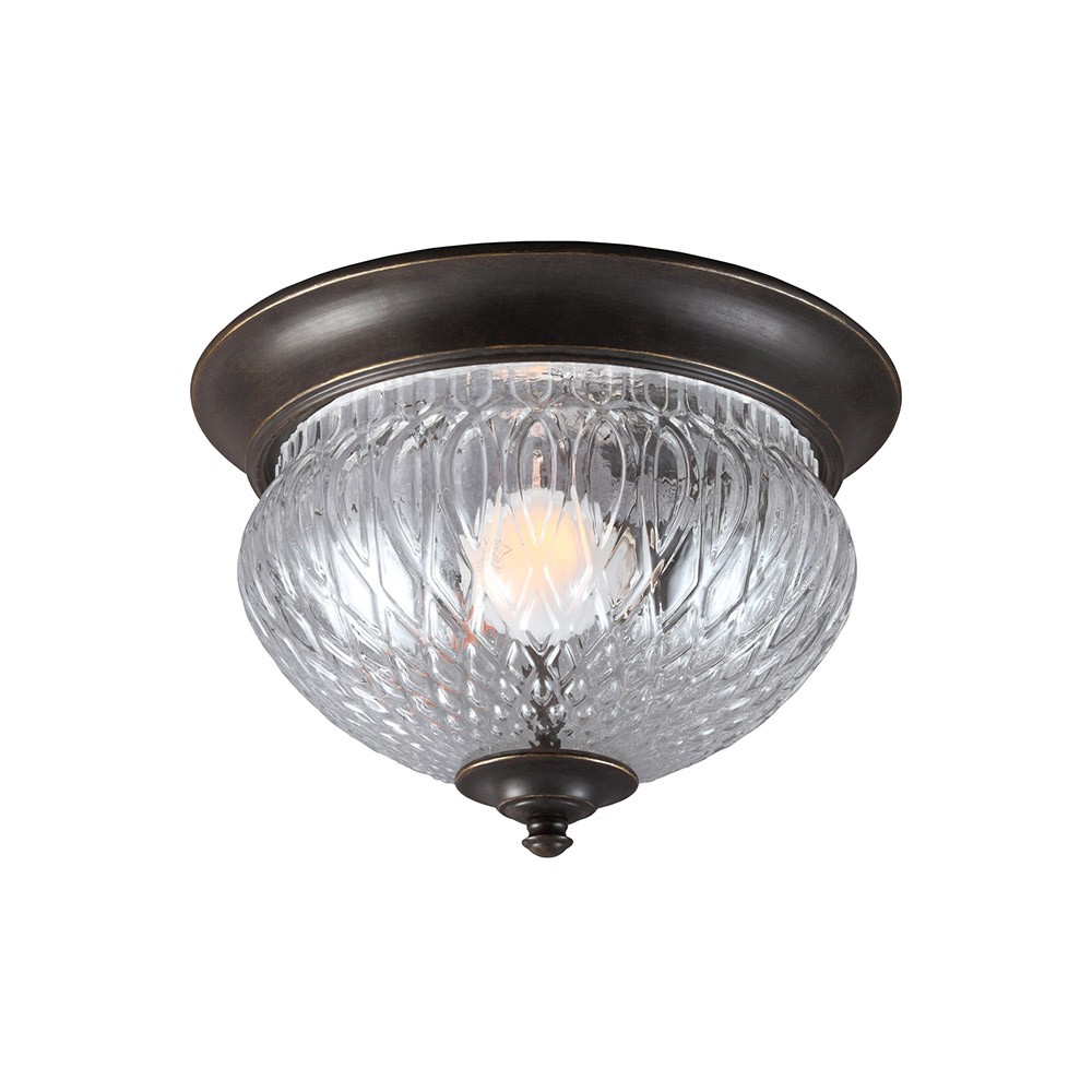 Sea Gull Garfield Park 1 Light Outdoor Flush Mount in Burled Iron 7826401BLE-780
