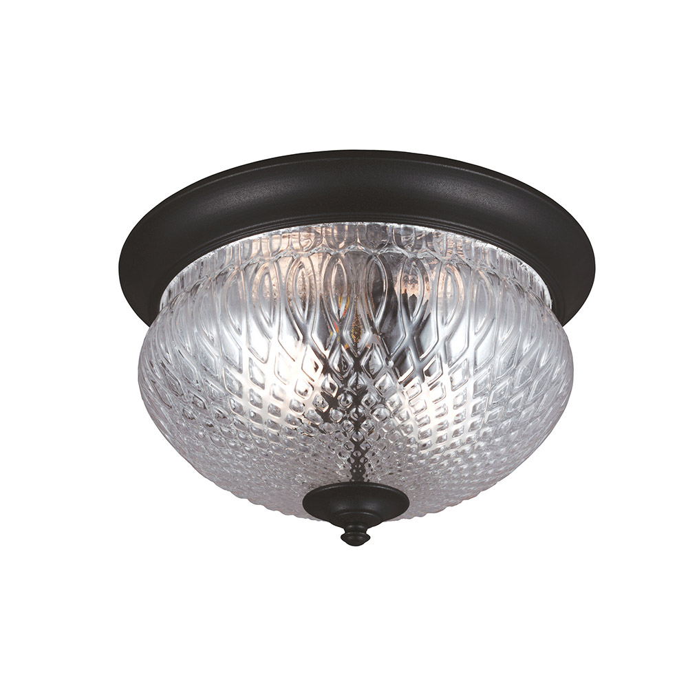 Sea Gull Garfield Park 2 Light Outdoor Flush Mount in Black 7826402-12 photo