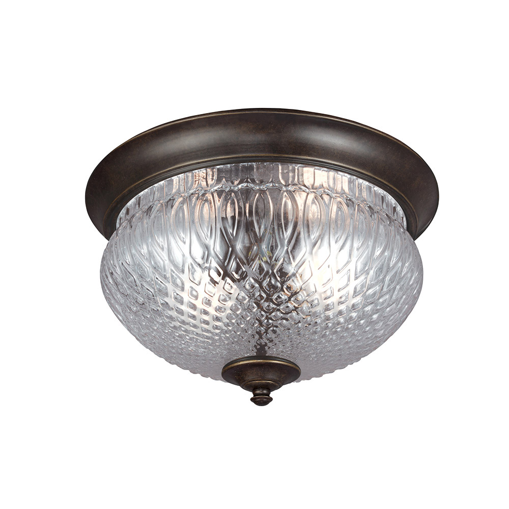 Sea Gull Garfield Park 2 Light Outdoor Flush Mount in Burled Iron 7826402-780
