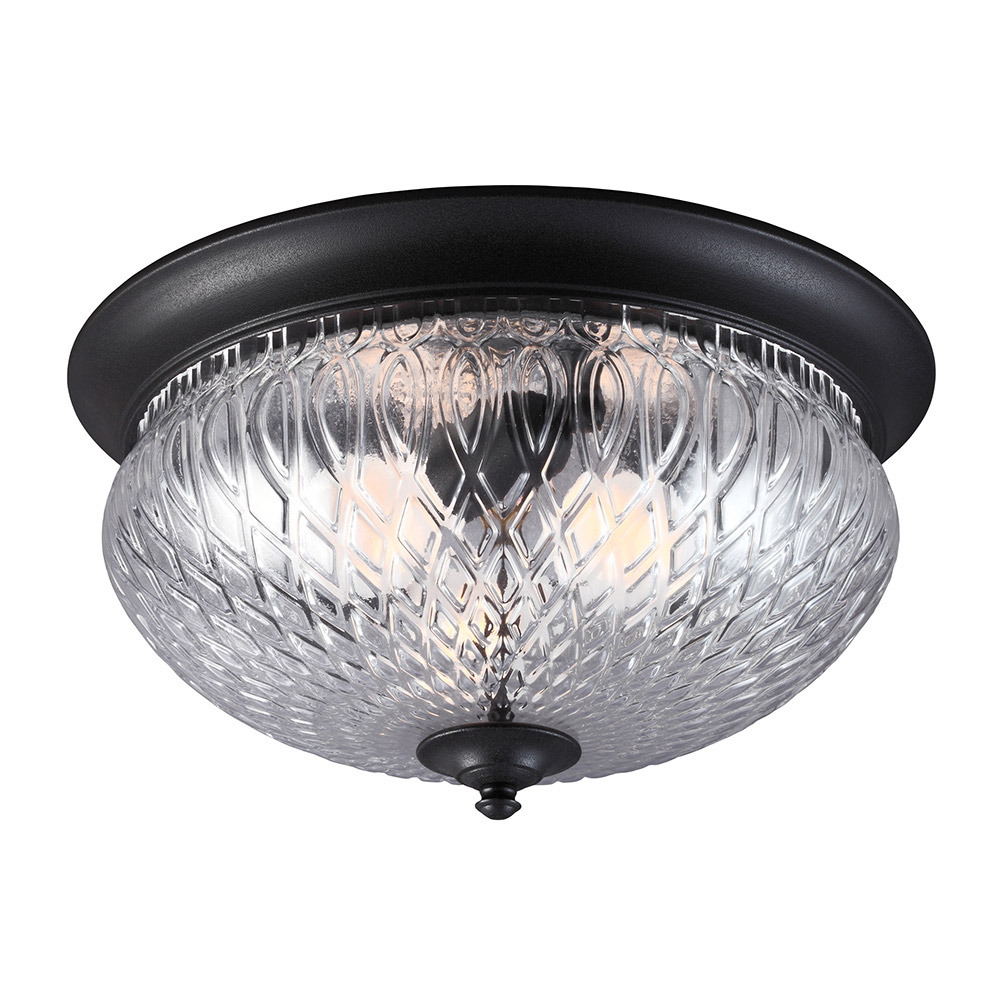 Sea Gull Garfield Park 3 Light Outdoor Flush Mount in Black 7826403BLE-12