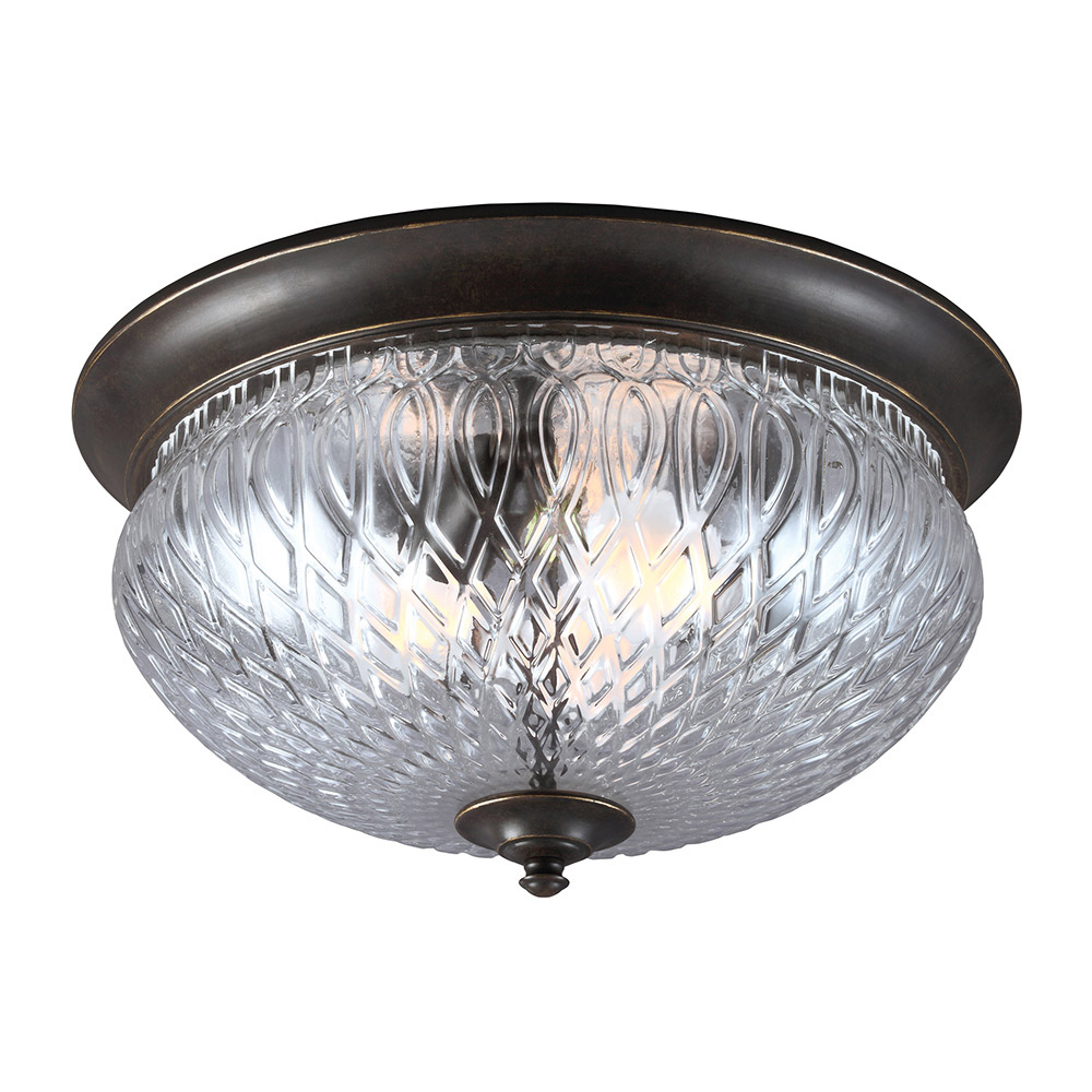 Sea Gull Garfield Park 3 Light Outdoor Flush Mount in Burled Iron 7826403-780