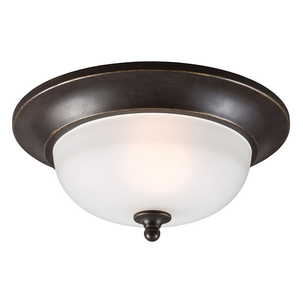 Sea Gull 7827401BLE-780 Humboldt Park 1 Light 11 inch Burled Iron Outdoor Flush Mount in Fluorescent photo