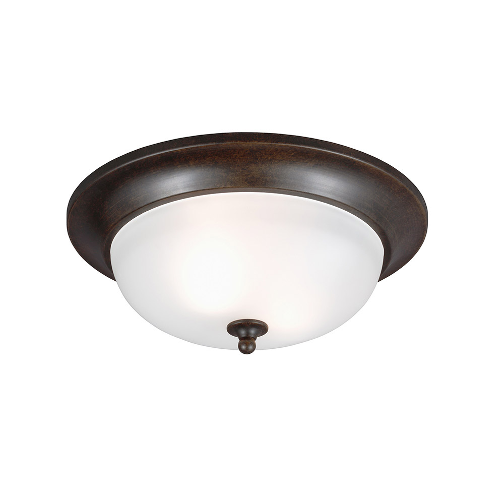 Sea Gull Humboldt Park 2 Light Outdoor Flush Mount in Burled Iron 7827402-780