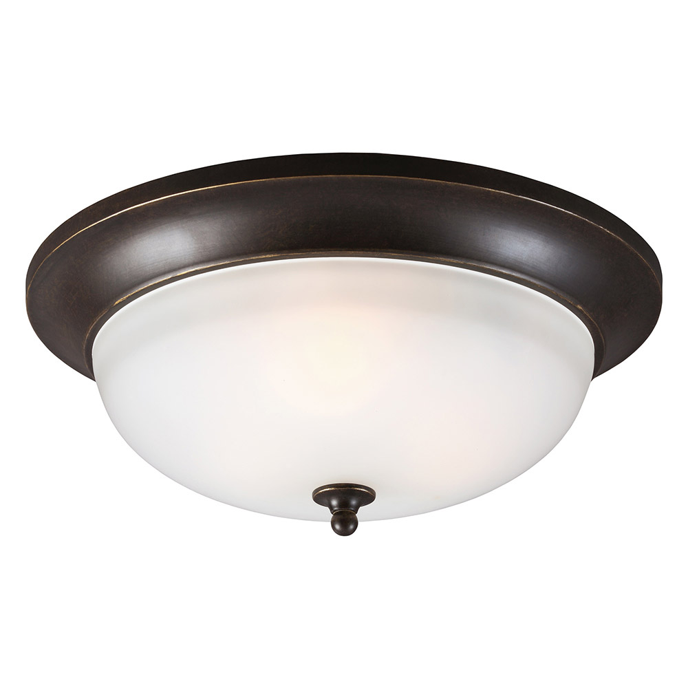 Sea Gull Humboldt Park 3 Light Outdoor Flush Mount in Burled Iron 7827403-780
