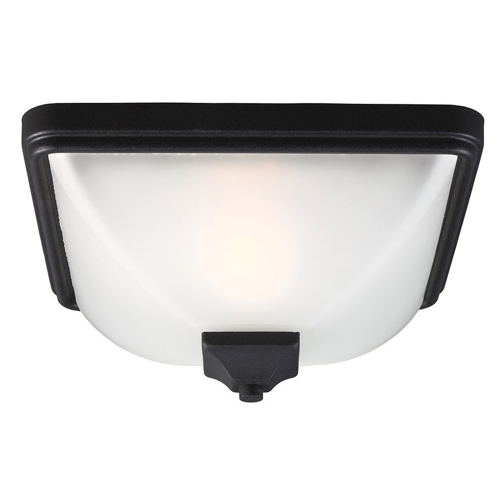 Sea Gull Irving Park 1 Light Outdoor Flush Mount in Black 7828401-12