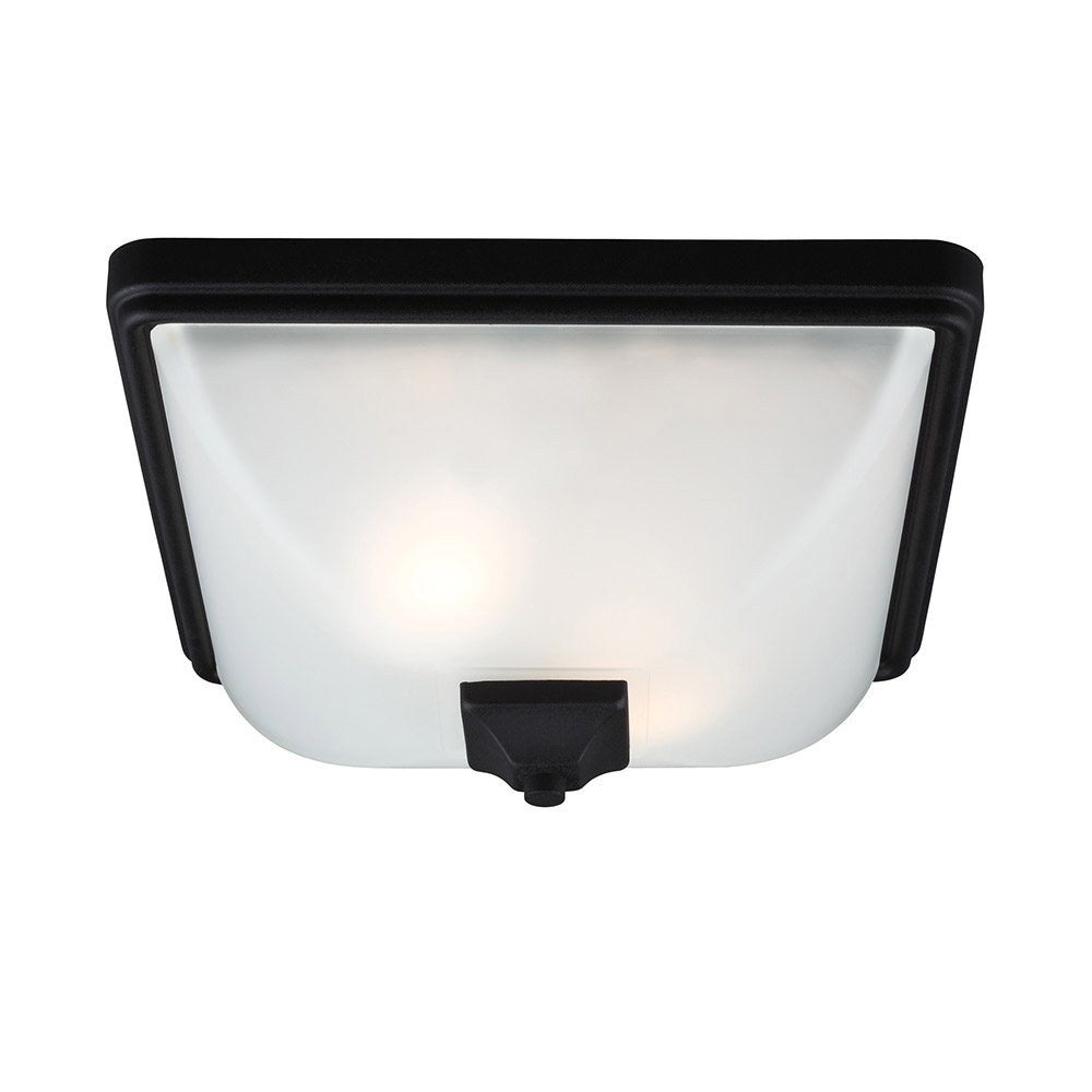 Sea Gull Irving Park 2 Light Outdoor Flush Mount in Black 7828402BLE-12