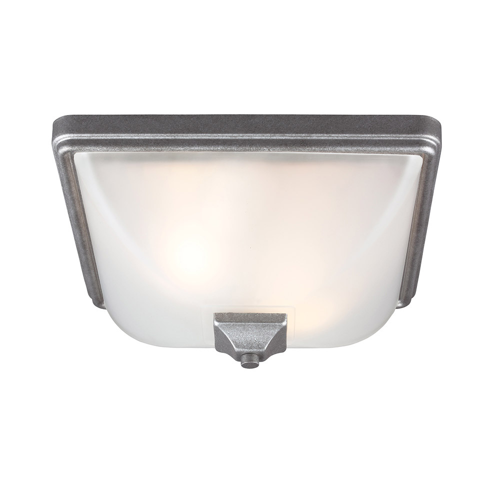 Sea Gull Irving Park 2 Light Outdoor Flush Mount in Weathered Pewter 7828402BLE-57