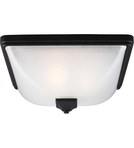 Sea Gull Irving Park 3 Light Outdoor Flush Mount in Black 7828403-12 photo