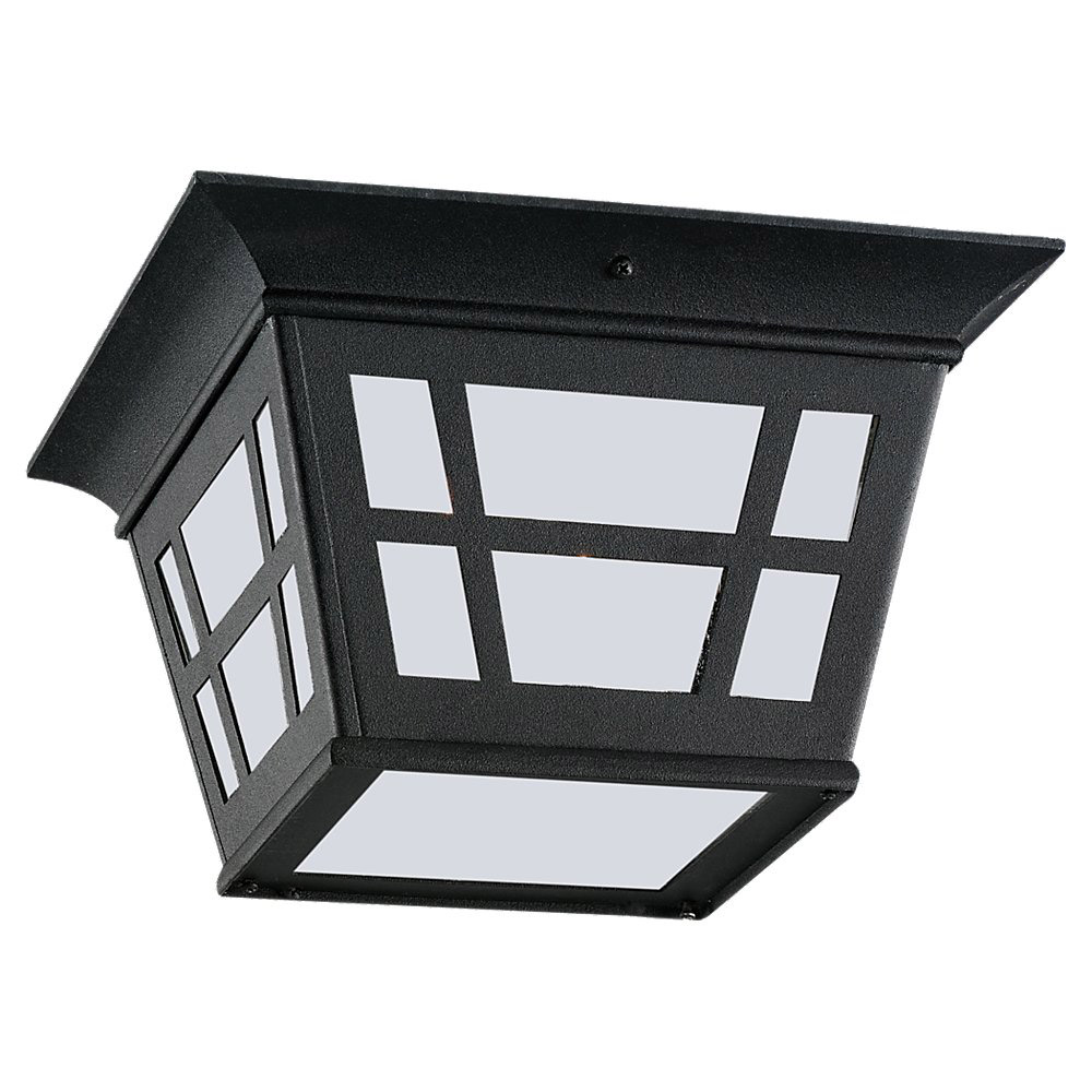Sea Gull Lighting Herrington 1 Light Outdoor Ceiling Fixture in Black 79131BLE-12