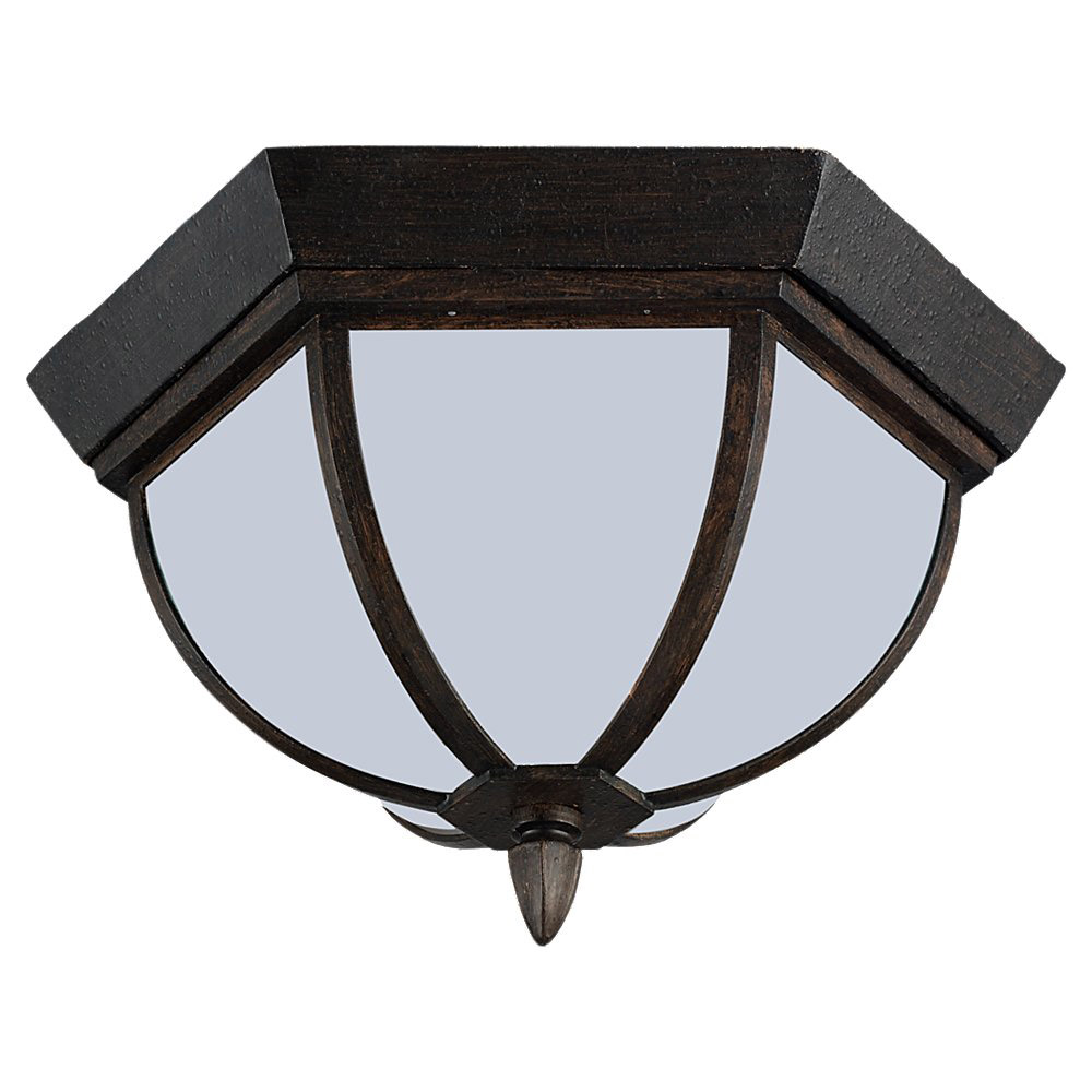 Sea Gull Lighting Ardsley Court 1 Light Outdoor Ceiling Fixture in Textured Rust Patina 79136BLE-08 photo