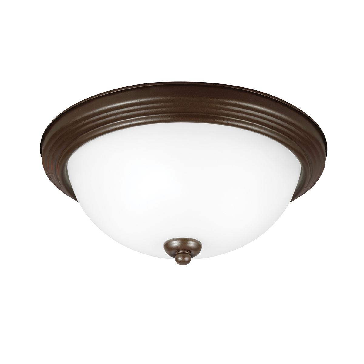 Sea Gull 79163BLE-827 Signature 1 Light 11 inch Bell Metal Bronze Flush Mount Ceiling Light in Satin Etched Glass photo