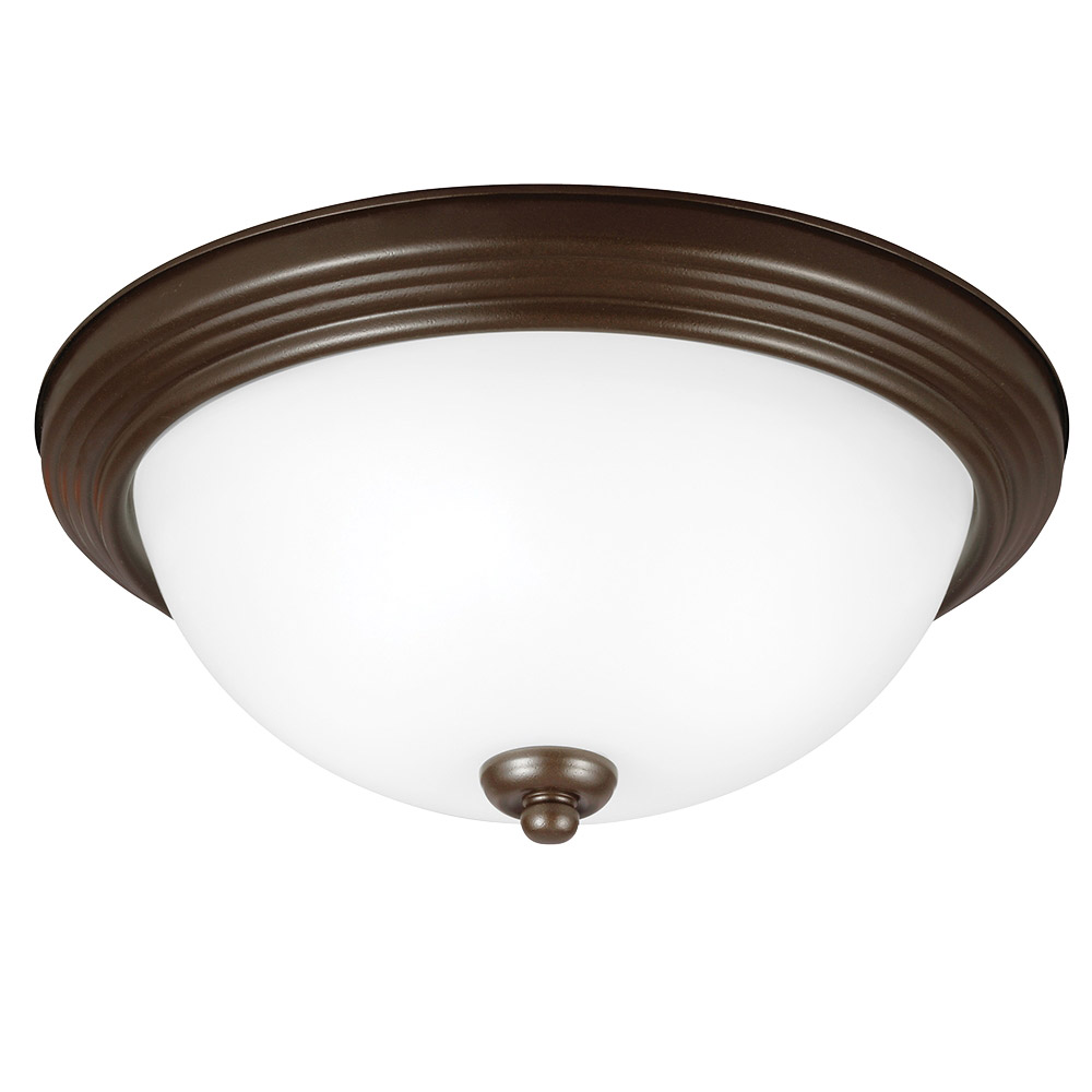 Sea Gull 79364BLE-827 Signature 2 Light 13 inch Bell Metal Bronze Flush Mount Ceiling Light in Satin Etched Glass photo