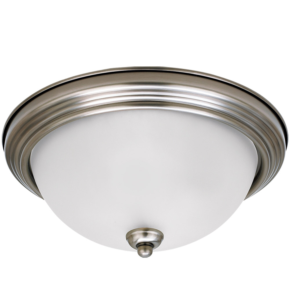 Sea Gull 79364BLE-965 Signature 2 Light 13 inch Antique Brushed Nickel Flush Mount Ceiling Light in Satin Etched Glass photo