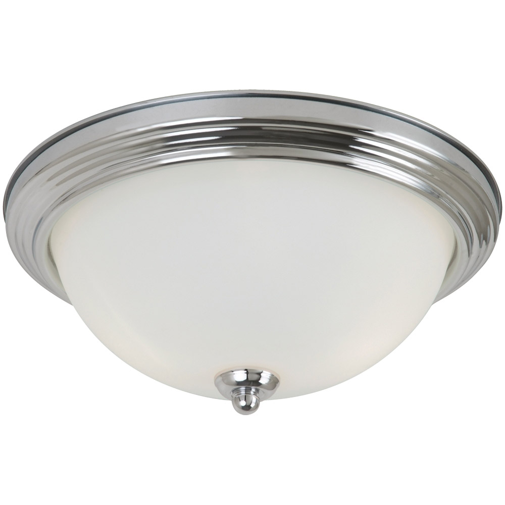 Sea Gull 79565BLE-05 Signature 3 Light 15 inch Chrome Flush Mount Ceiling Light in Satin Etched Glass photo