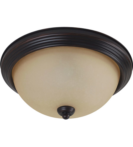 Sea Gull 79565BLE-710 Signature 3 Light 15 inch Burnt Sienna Flush Mount Ceiling Light in Amber Scavo Glass photo