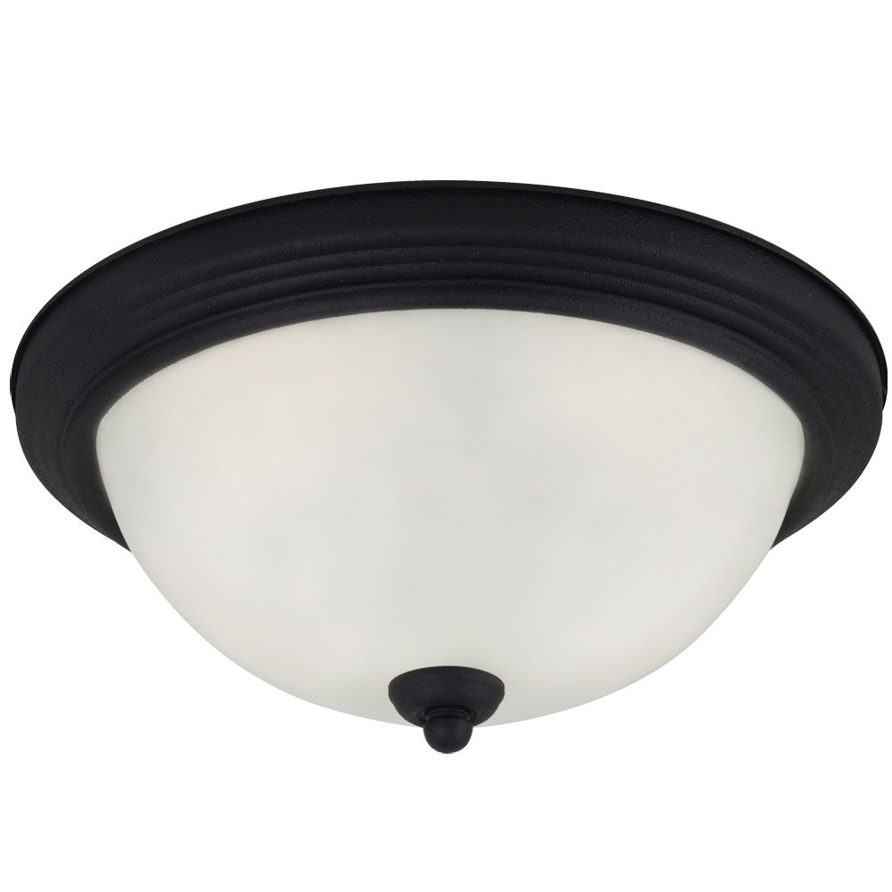 Sea Gull 79565BLE-839 Signature 3 Light 15 inch Blacksmith Flush Mount Ceiling Light in Satin Etched Glass photo
