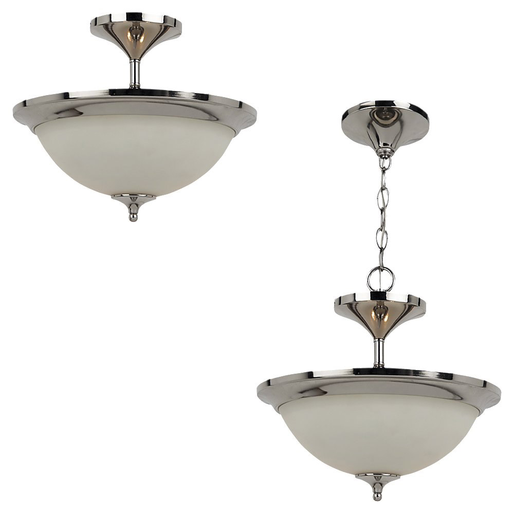 Sea Gull Lighting Solana 2 Light Semi-Flush Mount in Polished Nickel 79771BLE-841