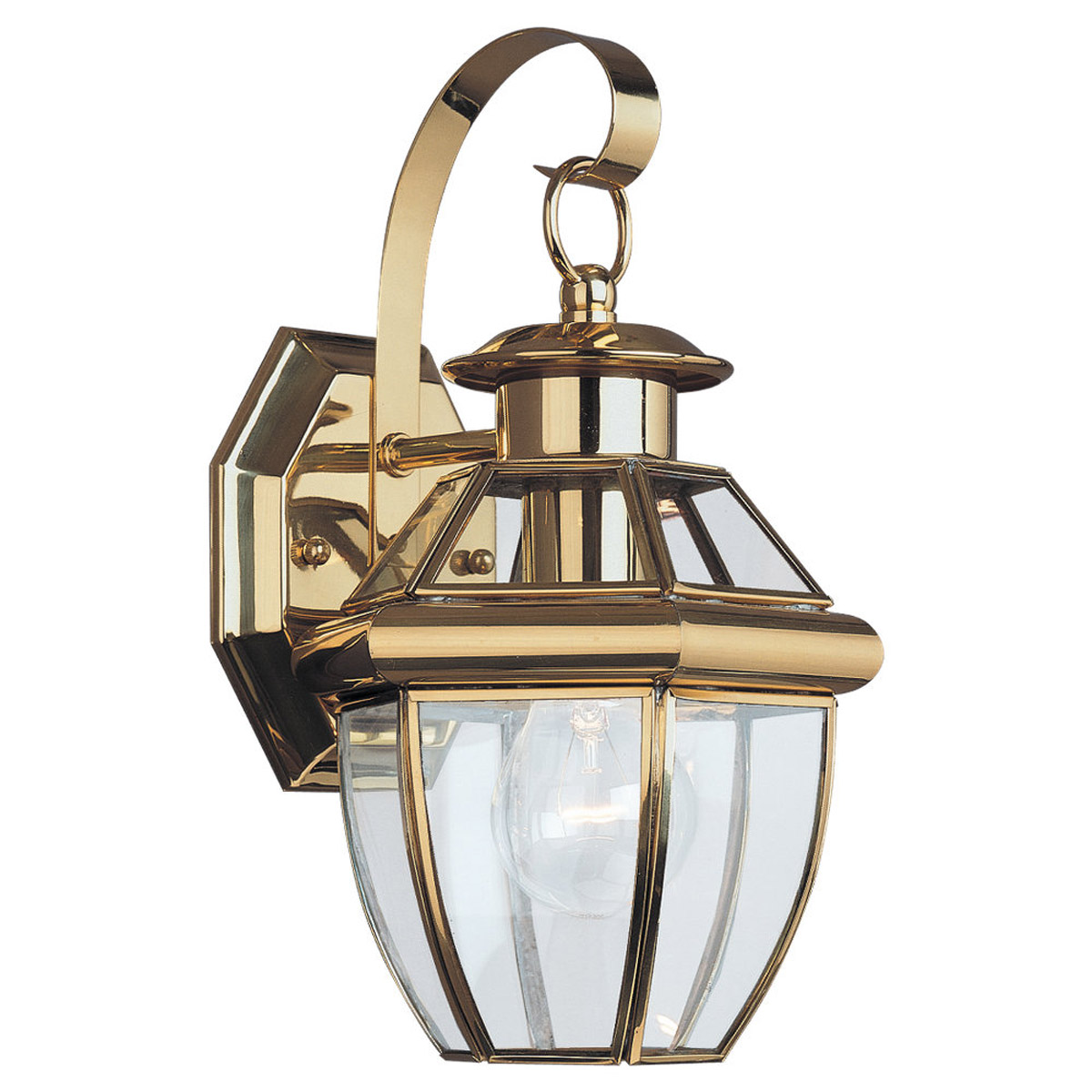 Sea Gull Lighting Lancaster 1 Light Outdoor Wall Lantern in Polished Brass 8037-02