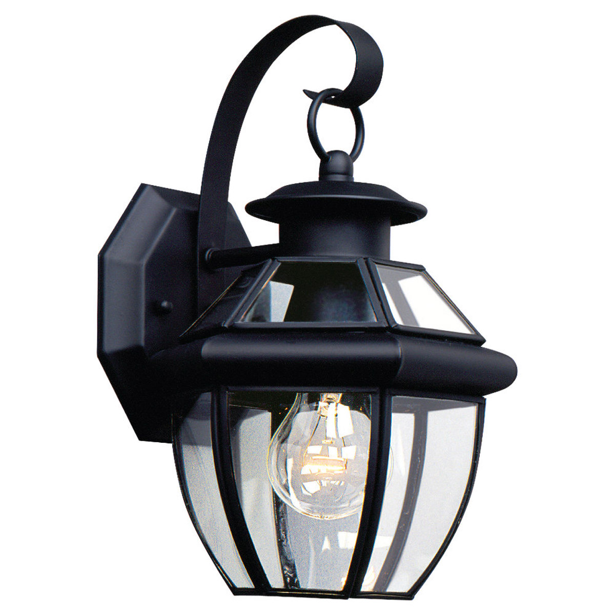 Sea Gull Lighting Lancaster 1 Light Outdoor Wall Lantern in Black 8037-12