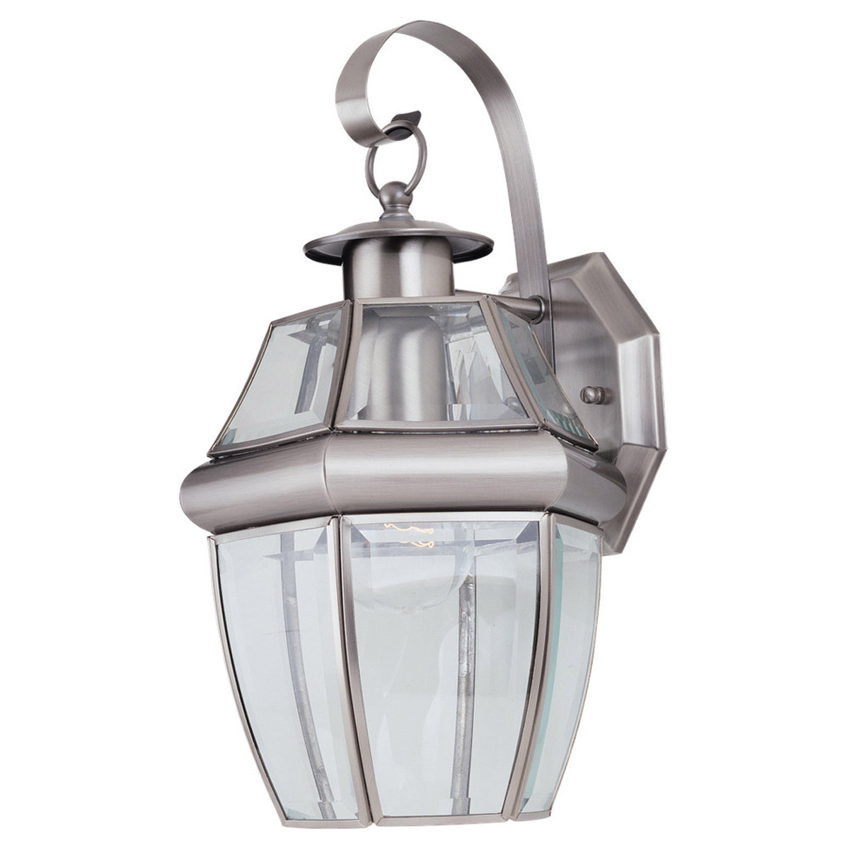 Sea Gull Lighting Lancaster 1 Light Outdoor Wall Lantern in Antique Brushed Nickel 8037-965 photo