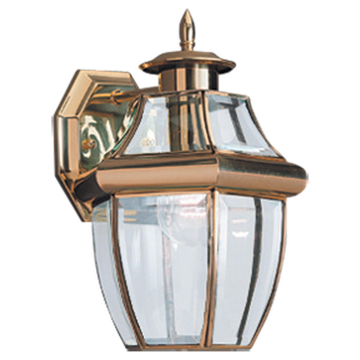 Sea Gull Lighting Lancaster 1 Light Outdoor Wall Lantern in Polished Brass 8038-02