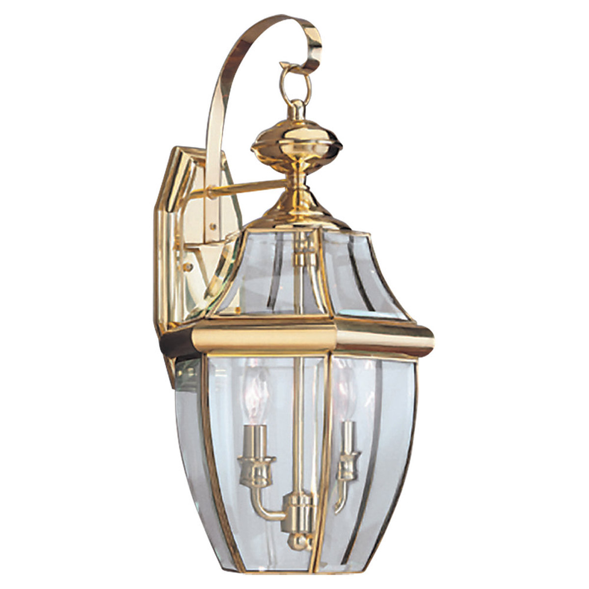 Sea Gull Lighting Lancaster 2 Light Outdoor Wall Lantern in Polished Brass 8039-02 photo