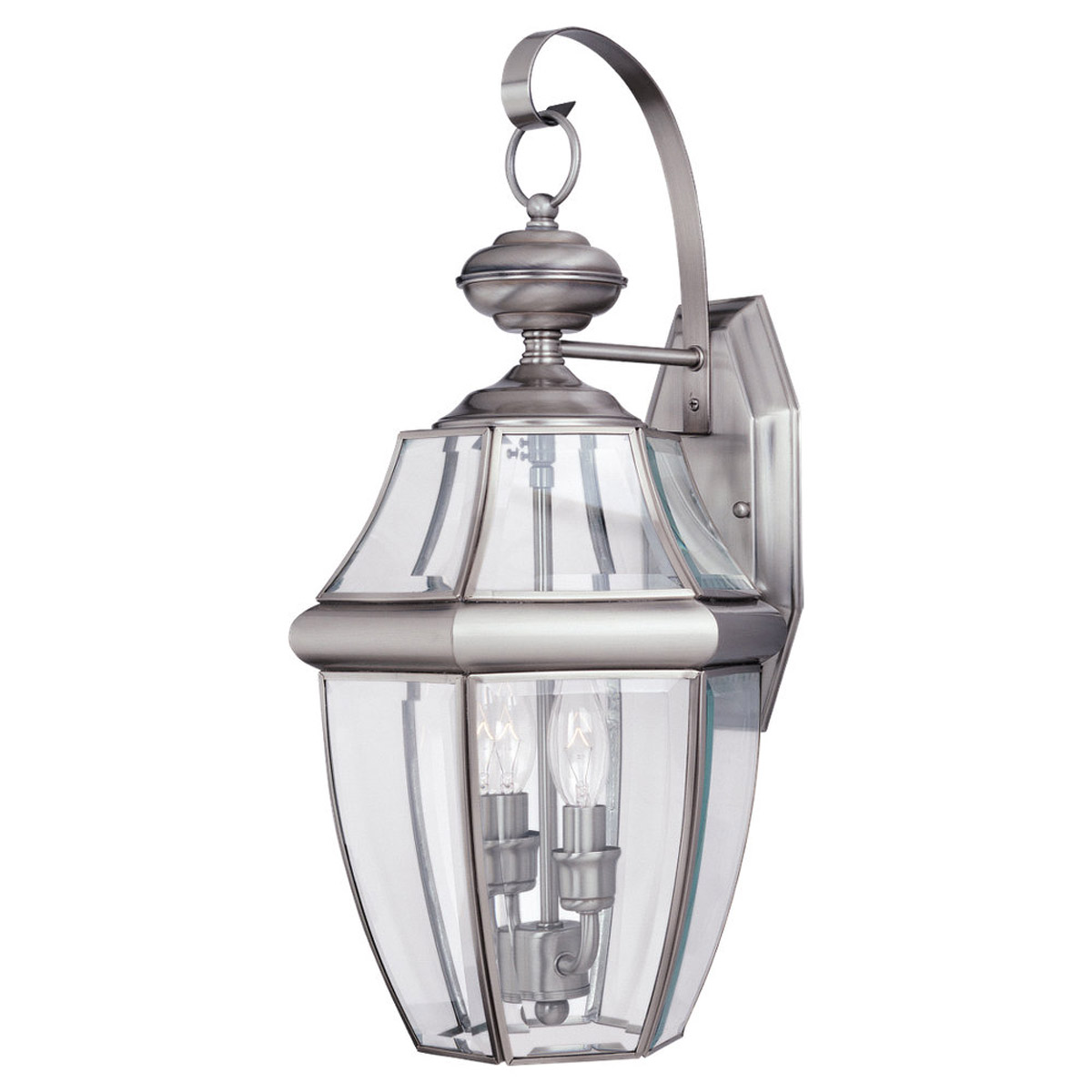 Sea Gull Lighting Lancaster 2 Light Outdoor Wall Lantern in Antique Brushed Nickel 8039-965 photo
