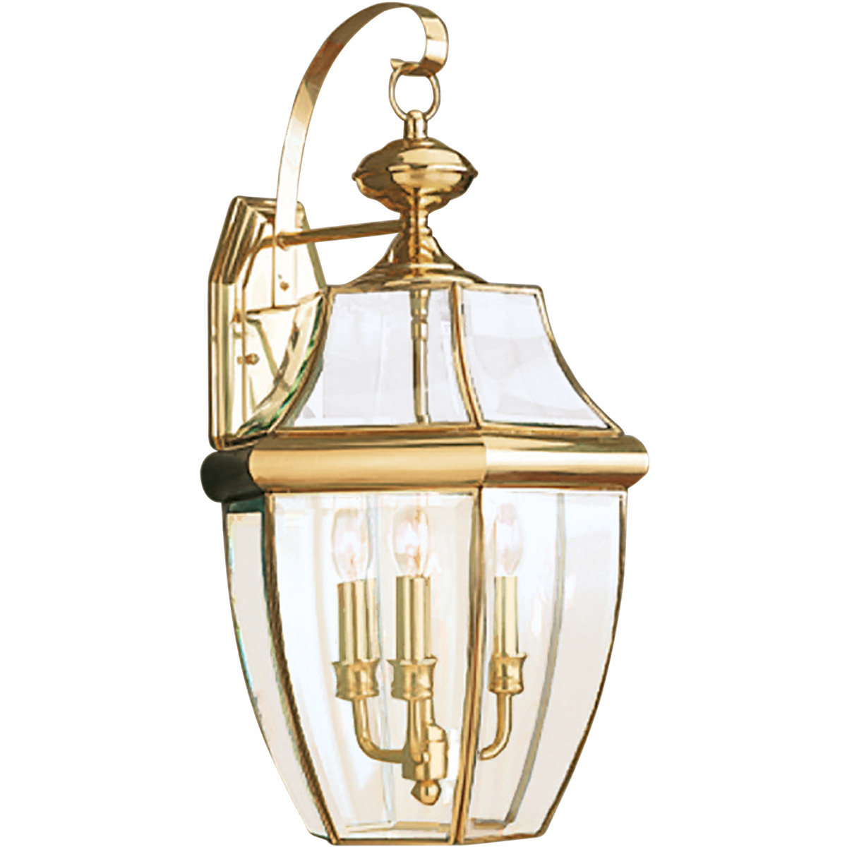 Sea Gull Lighting Lancaster 3 Light Outdoor Wall Lantern in Polished Brass 8040-02