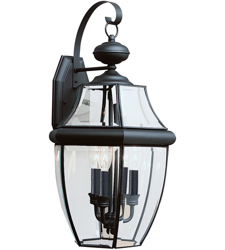Sea Gull Lighting Lancaster 3 Light Outdoor Wall Lantern in Black 8040-12