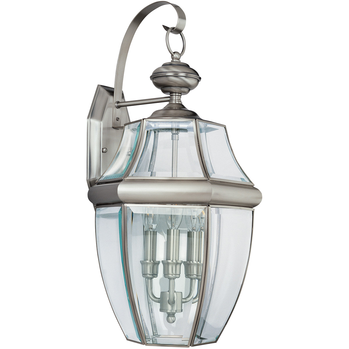 Sea Gull Lighting Lancaster 3 Light Outdoor Wall Lantern in Antique Brushed Nickel 8040-965 photo