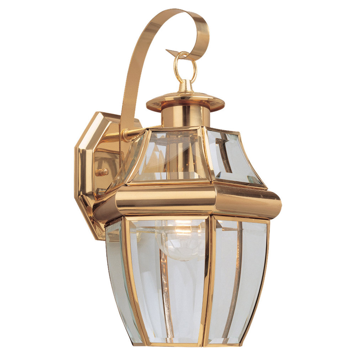 Sea Gull 8067-02 Lancaster 1 Light 14 inch Polished Brass Outdoor Wall Lantern photo