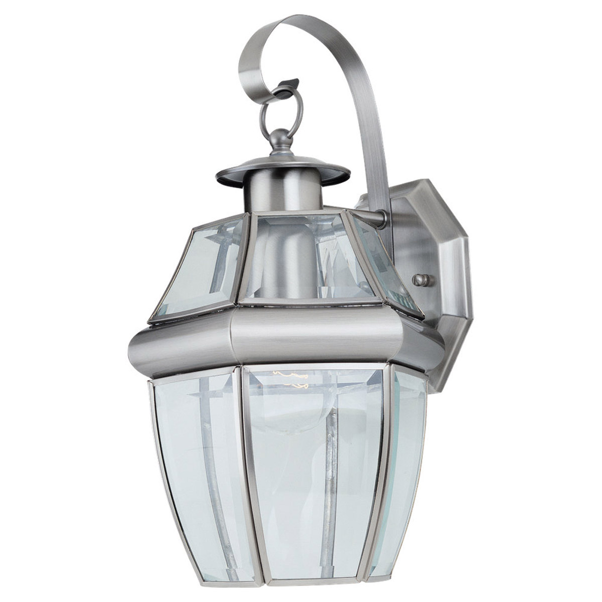 Sea Gull Lighting Lancaster 1 Light Outdoor Wall Lantern in Antique Brushed Nickel 8067-965