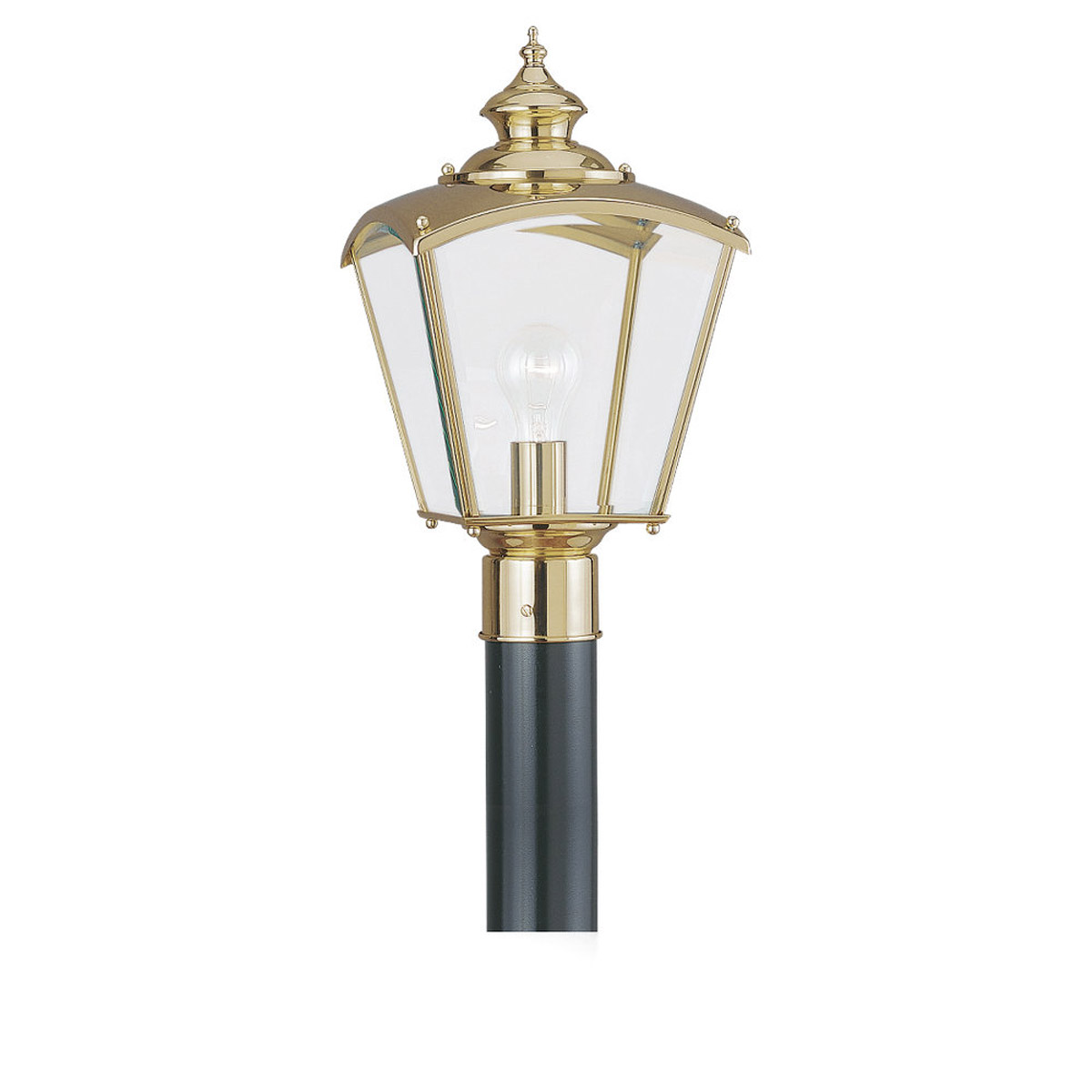 Sea Gull Lighting New Castle 1 Light Outdoor Post Lantern in Polished Brass 8202-02 photo
