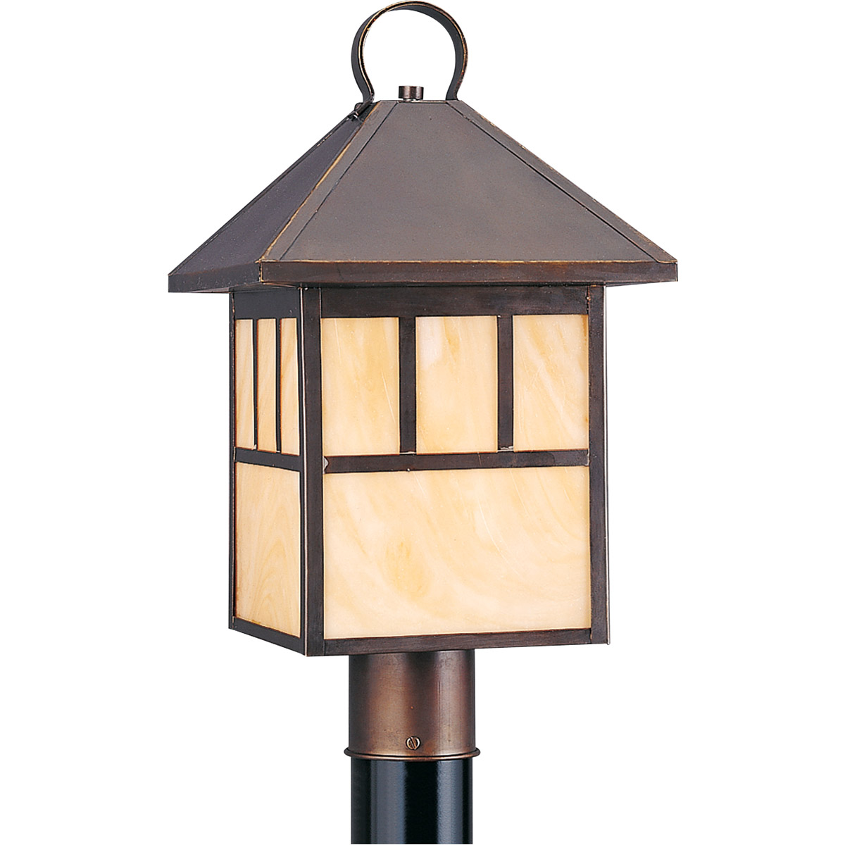 Sea Gull Lighting Prairie Statement 1 Light Outdoor Post Lantern in Antique Bronze 8207-71 photo